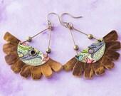 Leather Fringe Earrings, Half Circle Tin and Leather Fan Boho Style Fringe Earrings Tin Jewelry Statement Earrings
