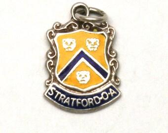 Stratford on Avon England Coat of Arms Enamel Bracelet Charm Vintage Sterling Silver