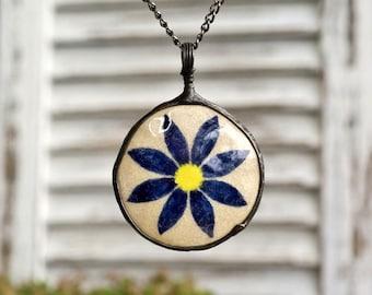 necklace with raku ceramic, metalwork, OOAK, floral, raku firing technique, handmade