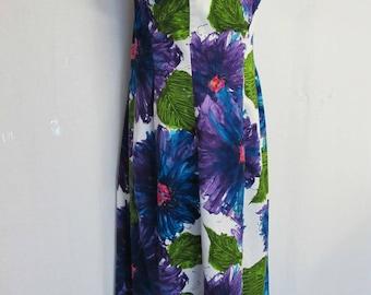 1960s Hawaiian Dress Alice Polynesian Fashions Barkcloth Dress Floral Trapeze Dress