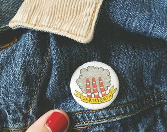 "Dartmouth Smokestacks Pin-Back Button // Tuft's Cove 1.25"" Button"