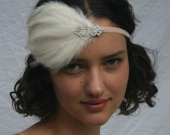 Great Gatsby headpiece, silver 1920s headband, Art Deco Ivory feather fascinator, flapper dress hair accessory bridal wedding black beige