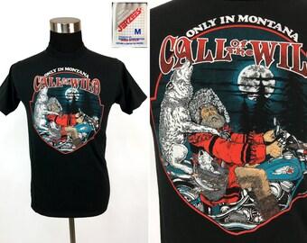"Vintage 1995 HARLEY DAVIDSON ""Call of the Wild"" Montana T-Shirt Medium // Motorcycle // Biker // Eagle // Wolf // Chopper // Easy Rider // M"