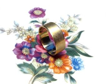 Matte gold plated ring size 62, mens ring gold plated frosted size 9.9