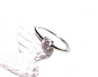 Solitaire ring 925 Silver Gr. 54, sterling silver ring cubic zirconia Solitaire US size 6.8 UK size N