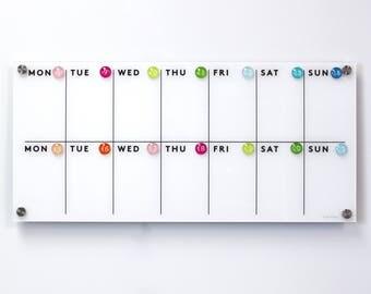 Acrylic Calendar - Lucite calendar -  Dry erase calendar - Magnetic calendar.  2 week