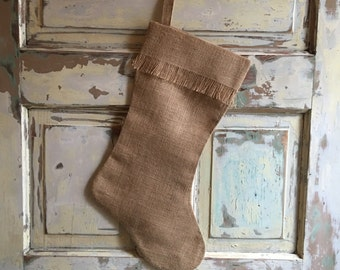 Burlap Christmas Stocking | Fringe Stocking | Christmas Stocking | Personalized stocking | Burlap Christmas Decor | Eco Friendly Christmas