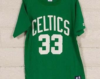 80s/90s Vintage Boston Celtics Larry Bird T Shirt Size L #33 Starter