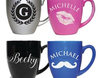 Personalized Ceramic Mug, Custom Coffee Mug, Cappuccino Mug, Latte Cup, Coffee Cappiccino Cup, Engraved Coffee Mug, Monogram Coffee Mug