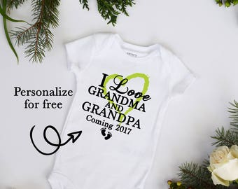 COMING SOON I love Grandma and Grandpa Baby CUSTOMIZE color Bodysuit Baby Announcement bodysuit