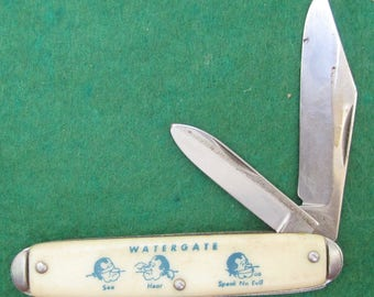 Original 1970's President Richard Nixon Tricky Dick Two Blade Novelty Pocket Folding Knife - Free Shipping