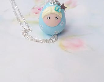 necklace kawaii doll matriochka polymer clay
