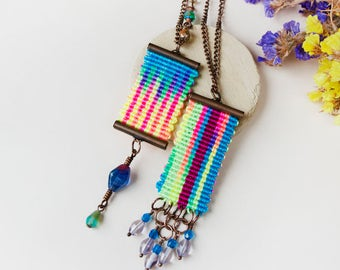 Bright micro-macrame necklace, pendant, rainbow, watercolor, groovy, bohemian, tribal, layer necklace, knotted, macrame jewelry, 1 pc