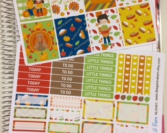 Thanksgiving Planner Stickers | Here For The Pie | Fits Erin Condren Life Planner | Fits Happy Planner | Vertical Layout | ML034