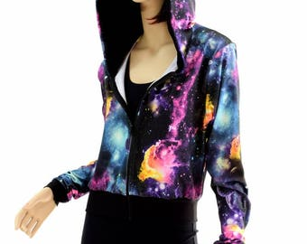 "UV Glow Galaxy Long Sleeve Zipper Front Cropped ""Kimberly"" Hoodie Jacket with Black Zen Hood Lining & Cuffs 154406"
