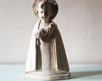 """Beautiful Antique French Chalkware Statue of The Lamb of God - 11"""" Tall"""