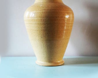 Vintage Large Honey Glazed Pottery Vase