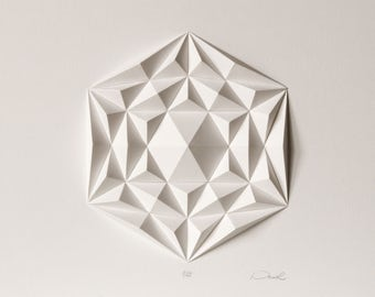 Above bed Hexagonal Triangle Mini Abstract Sculpture Origami Wall Decoration - Geometric Paper Mosaic Relief for Living room - Bright White