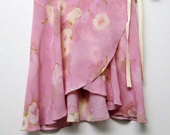 Light purple and white floral ballet wrap skirt- Short