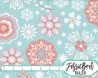 SPA & CORAL FLORAL Fabric by the Yard Fat Quarter Coral Fabric Flower Fabric Quilting Fabric Apparel Fabric 100% Cotton Fabric Yardage a5-21