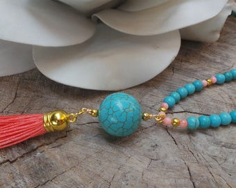 Long beaded turquoise and coral tassel necklace.Turquoise and coral necklace.Bohemian necklace.Summer necklace.Pink and turquoise necklace.