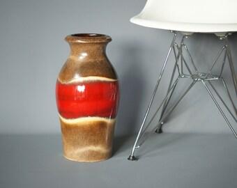 WEST GERMAN POTTERY Floor Vase, Fabiola Glaze, Large Scheurich 290 40, Retro Modern Vase, Red German Floor Vase, Large Red Fat Lava Vase