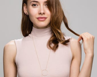 Big Halo Y Lariat Necklace / Large Circles Statement Necklaces