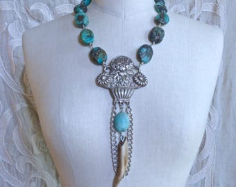 Turquoise Deer Antler and Silver Bouquet Necklace