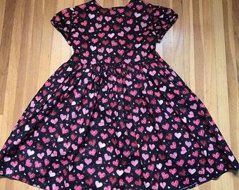 Red & Pink Hearts Girls Glittery Black Dress Size 5T