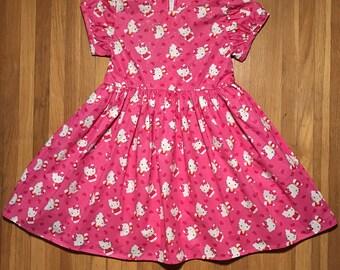 Hello Kitty Glittery Pink Girls Dress Size 3T, 4T, 5T