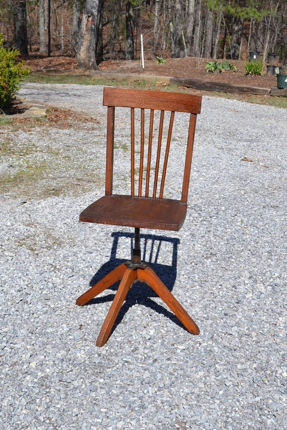 Like this item? - Vintage Child Desk Chair Wood Swivel Seat Antique Wooden Chair