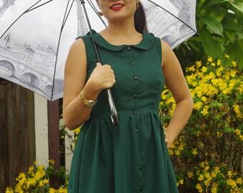 Forest green shirt dress