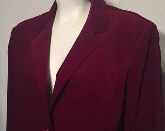 Vintage Women's Plus Size 42 1X Wine Burgundy Red Cotton Velvet Blazer Sears The Fashion Place 70s Seventies 2 Button