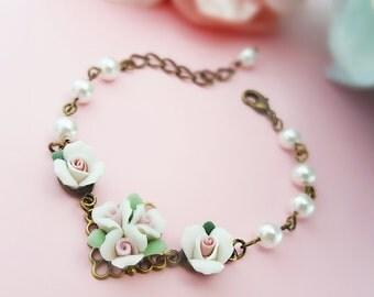 Wedding Bracelet, White Rose Bracelet, Pearl Bracelet, Vintage Bridal, Wedding Gift, Porcelain Rose, Bronze Anniversary, Bridal Roses, B5005