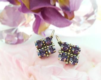 Amethyst Purple Earrings, Violet Rhinestone Earrings, Swarovski Tanzanite Purple Crystal Bronze Earrings, December Birthstone Gift, E3973