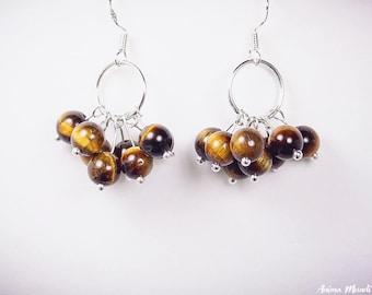 Tiger eye earrings, Stone Cluster Earrings, Earthy trendy, Sterling silver hook, Gemstone earrings, earrings for her, Tiger eye jewelry