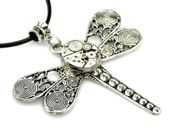 Steampunk Dragonfly Pendant Filigree WIngs -  Vintage Elgin Watch Insect Pendant