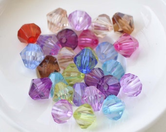Acrylic Bicone Faceted Beads Mixed Color Size 4mm/6mm/8mm/10mm/12mm/14mm/16mm
