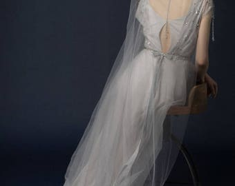 SAMUNA / smoky bohemian gray wedding dress with open back and hand embroidery / vintage wedding dress / elegant wedding gown / Bohemian Gown