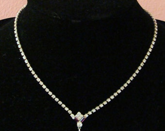 Rhinestone necklace with amethyst teardrop, matching teardrop earrings