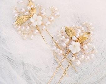 gold hair pins, bridal hair pins, wedding hair pins, floral hair pins, flower hair pins, gold headpiece, bridal headpiece - MIA (set of 2)
