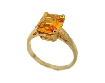 Vintage Golden Sapphire Ring 14k Gold, 14k Yellow Sapphire Ring