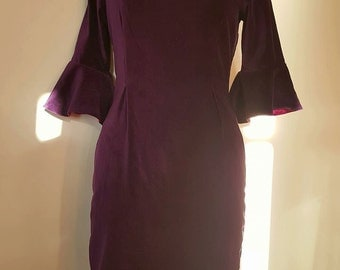 Sale-Rich Purple Velvet Dress with Tulip sleeve mid length and square neck line