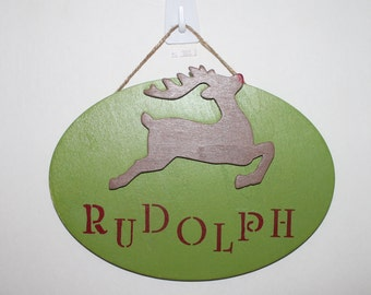 Christmas decor~Rudolph~Reindeer~Holiday sign~Wood sign~Christmas sign~Wall decor
