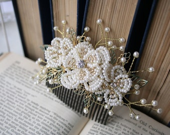 LILY - Bridal French Beaded Flower Hair Comb, Pearl Flowers and Leaves, Vintage Look Hair Piece