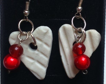 Porcelain Heart Beads Red Earrings