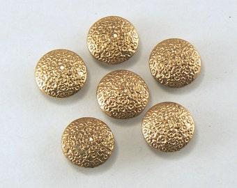 "6 - 9/16"" Gold Metal Buttons -   Pebble Pattern Metal Shank Buttons - Gold Shank Buttons  - 14 mm Sewing Buttons #GM-13-01"