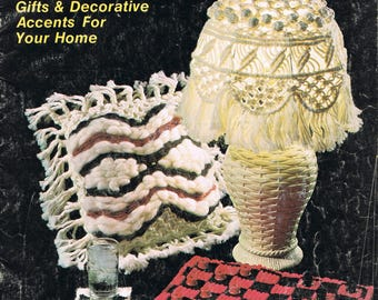 Macrame Pattern Book - Macrame Tissue Box Patterns - Macrame Lampshade Pattern  - Macrame Pillow Pattern - Macrame Accessories Pattern Book
