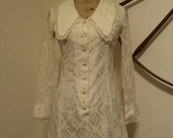 1960's Union Made ILGWU White Lace Dress