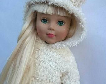 """18"""" Doll Teddy Ear Hoodie ~ Fuzzy White Sweatshirt For AG Dolls ~ Cute Teddy Bear Coat"""